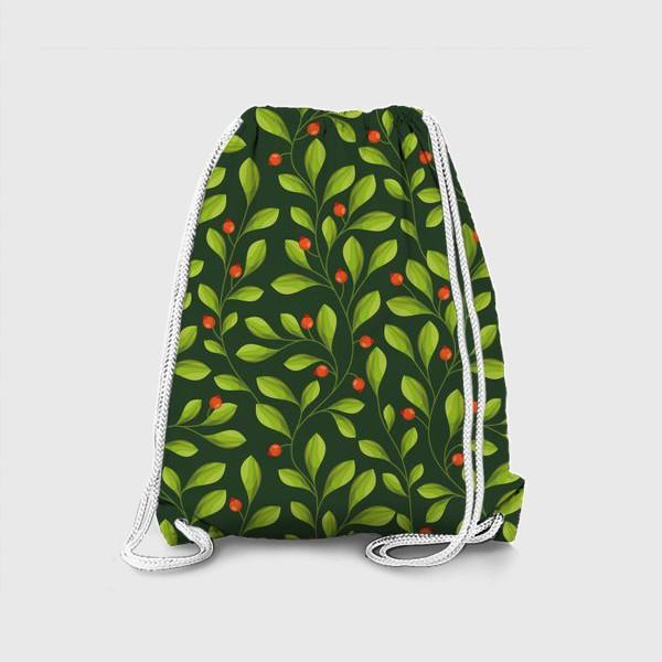 Рюкзак «Зеленый Паттерн с листьями и красной ягодой»