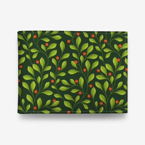 Кошелек «Зеленый Паттерн с листьями и красной ягодой»