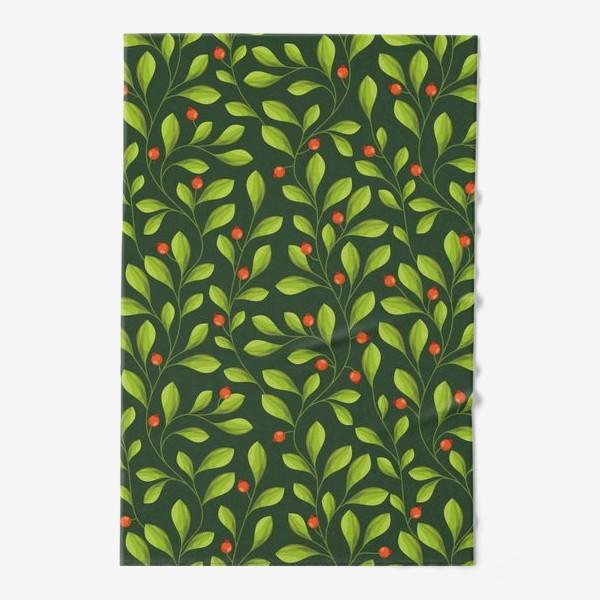 Полотенце «Зеленый Паттерн с листьями и красной ягодой»
