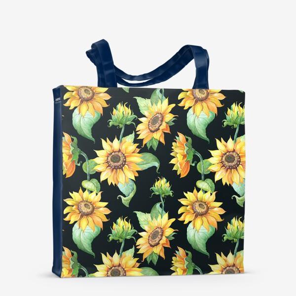 Сумка-шоппер «Подсолнухи с листьями на черном»