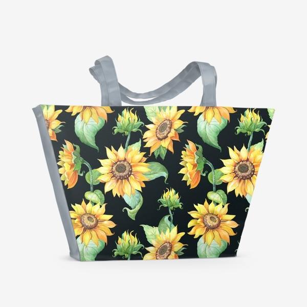 Пляжная сумка «Подсолнухи с листьями на черном»