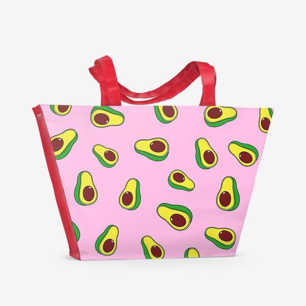 Пляжная сумка «Авокадо, нежно-розовый»