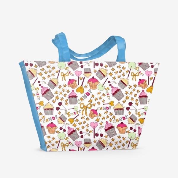 Пляжная сумка «Капкейки, леденцы, сладости»