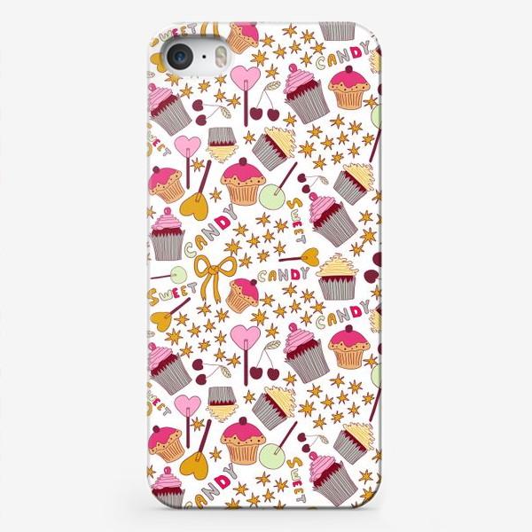 Чехол iPhone «Капкейки, леденцы, сладости»