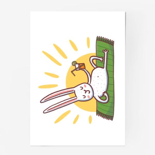 Постер «Зайчик на пляже. Отдых»