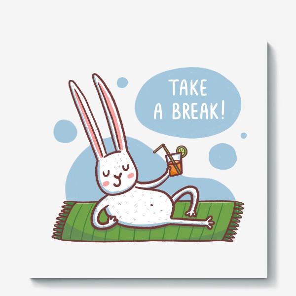 Холст «Зайчик на пляже. Отдых. Take a break!»