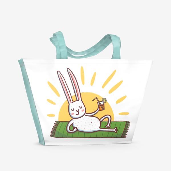 Пляжная сумка «Зайчик на пляже. Отдых»