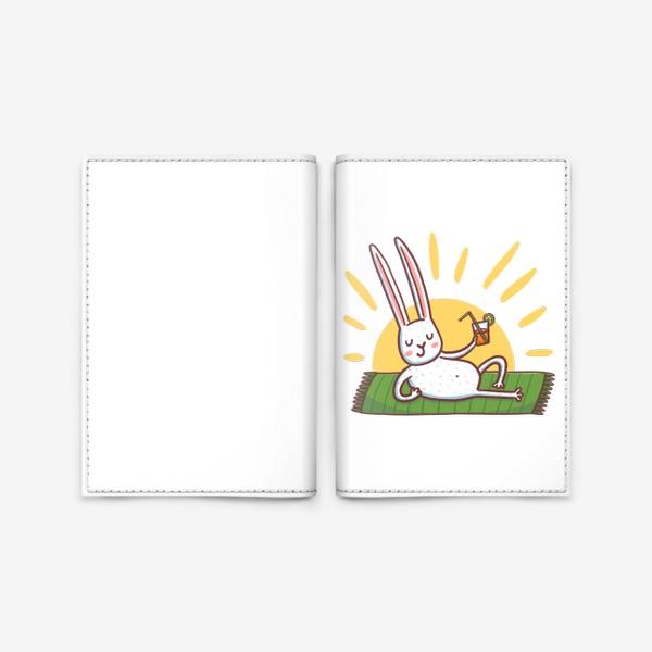 Обложка для паспорта «Зайчик на пляже. Отдых»