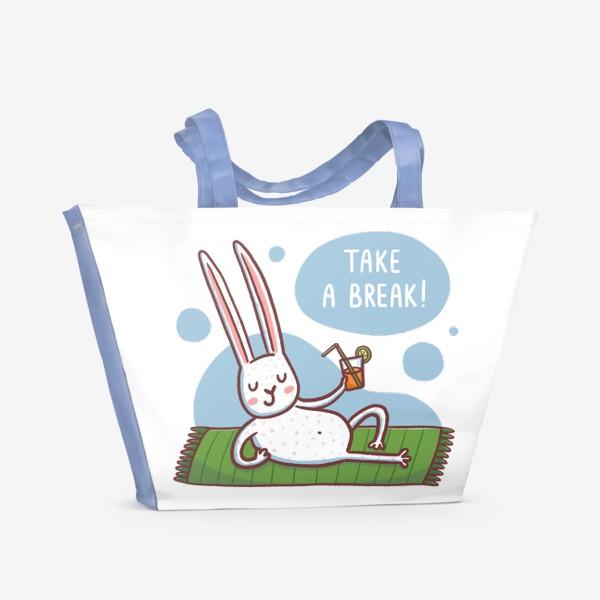 Пляжная сумка «Зайчик на пляже. Отдых. Take a break!»
