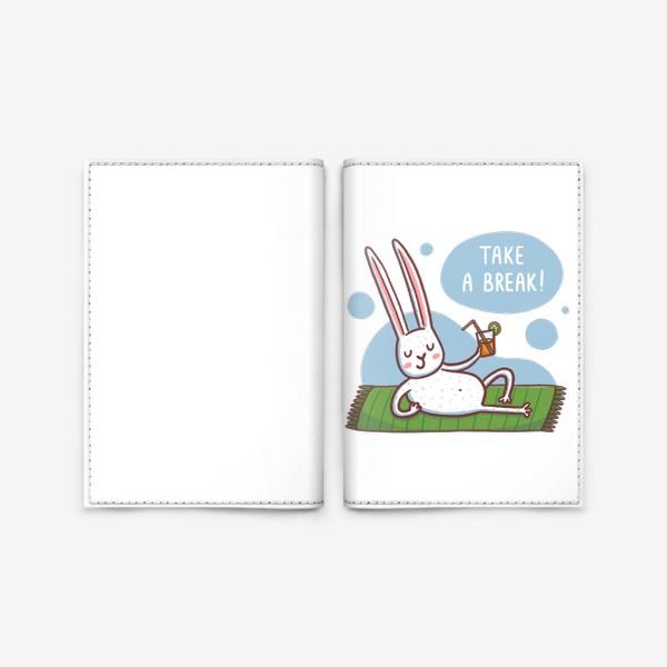 Обложка для паспорта «Зайчик на пляже. Отдых. Take a break!»