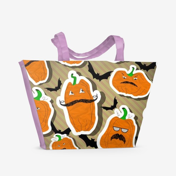 Пляжная сумка «Хеллоуин. Тыква. Летучая мышь.»