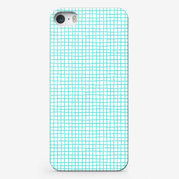 Чехол iPhone «Паттерн бирюзовая клетка»