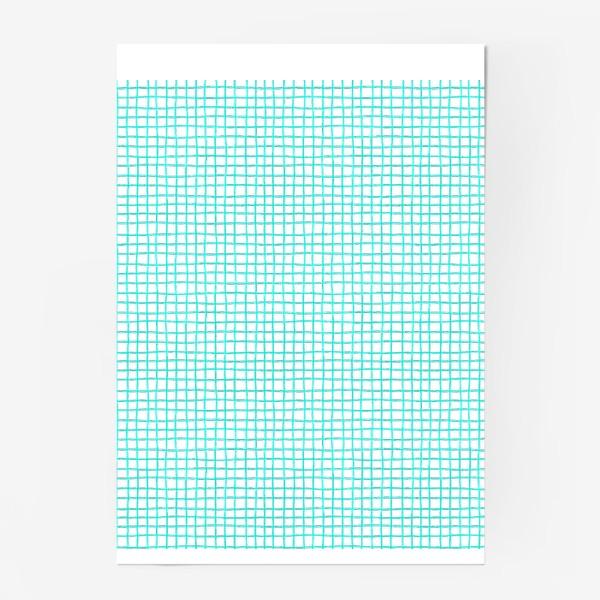 Постер «Паттерн бирюзовая клетка»