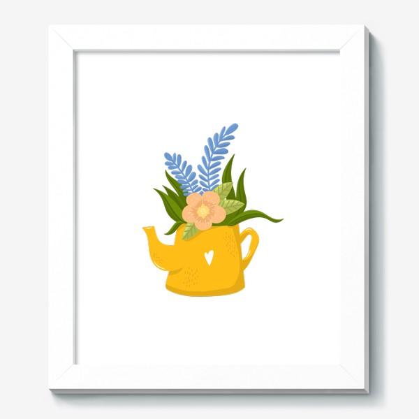 Картина «Садовая лейка с букетом летних цветов»