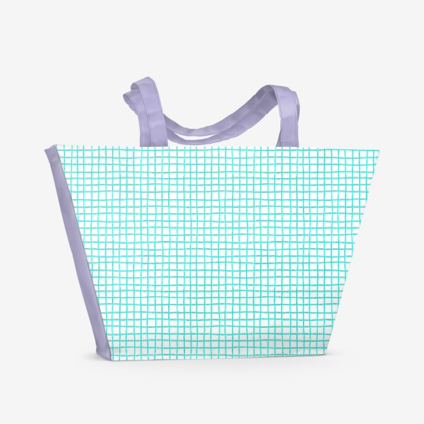 Пляжная сумка «Паттерн бирюзовая клетка»