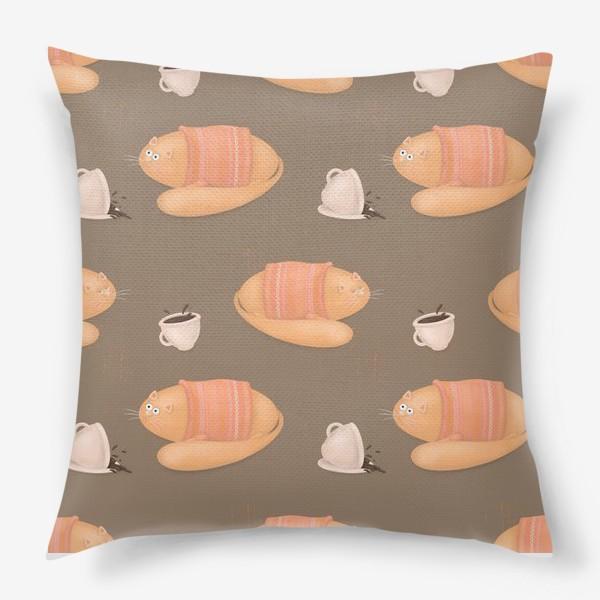 Подушка «Коты и кофе, взбодрись, доброе сонное утро, кофеманам, кошатникам, любителям кофе и котов, горячие напитки, кружка кофе»