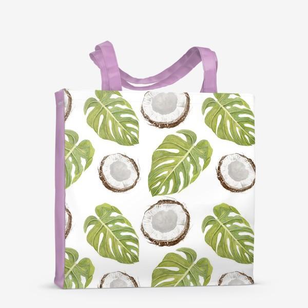 Сумка-шоппер «Кокосы и листья монстеры»