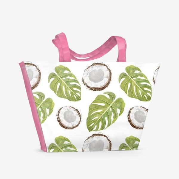 Пляжная сумка «Кокосы и листья монстеры»