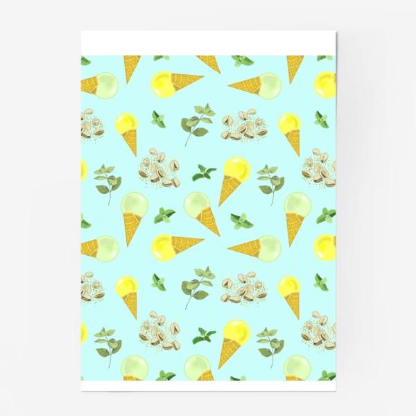 Постер «Фисташковое мороженное и веточки мяты»