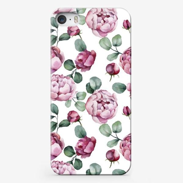 Чехол iPhone «пионы с листьями»