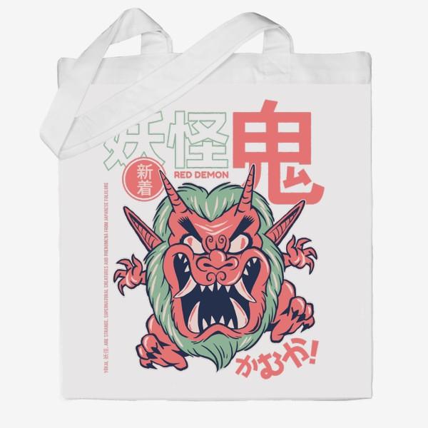 Сумка хб «Злой демон ёкай Они - Японская мифология»