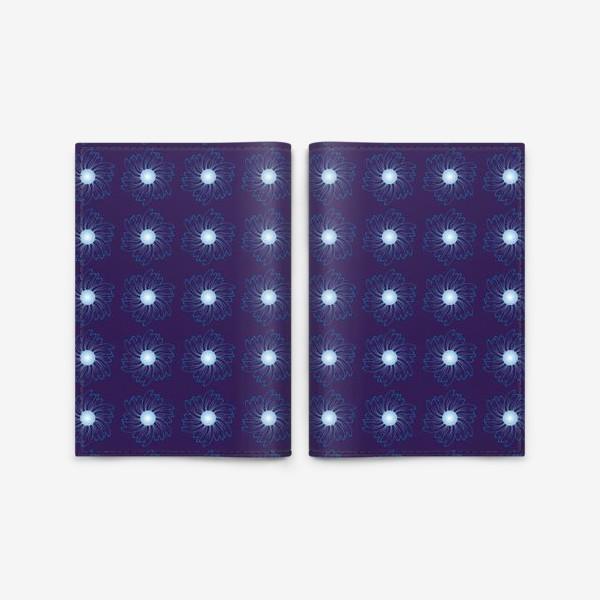 Обложка для паспорта «Цветочный орнамент на темно-синем фоне»
