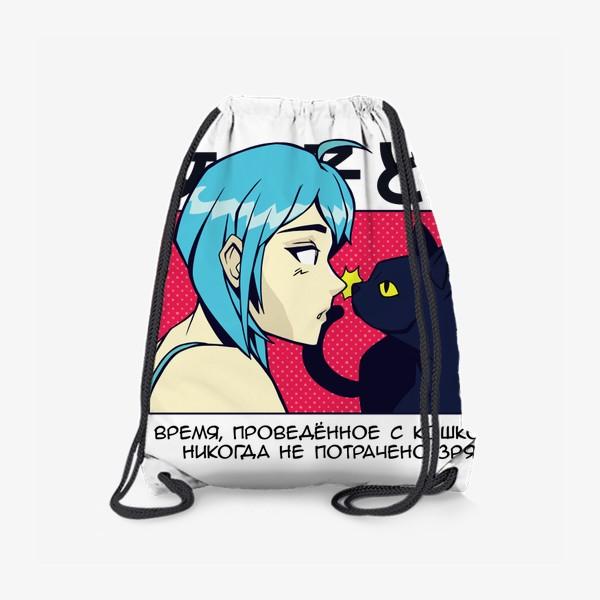 Рюкзак «В стиле аниме - девушка и кошка»