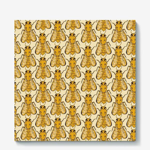 Холст «Золотые пчелы на бледно-желтом»