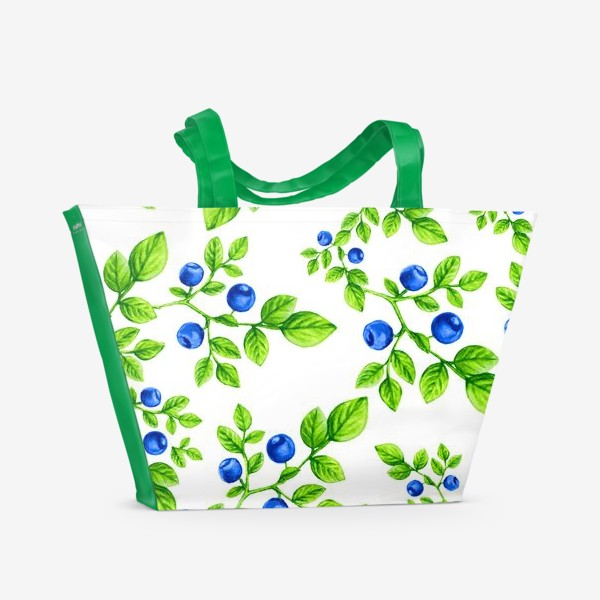 Пляжная сумка «Черника.Паттерн. /Blueberry. Pattern.»
