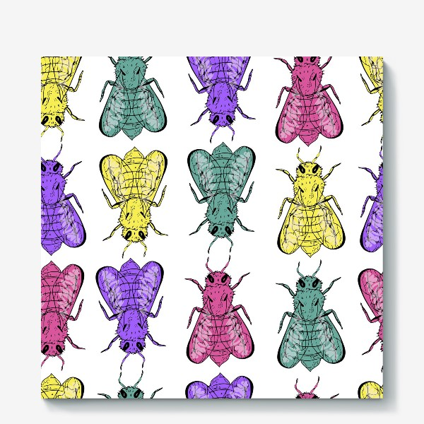 Холст «Паттерн из пчел в стиле поп-арт»