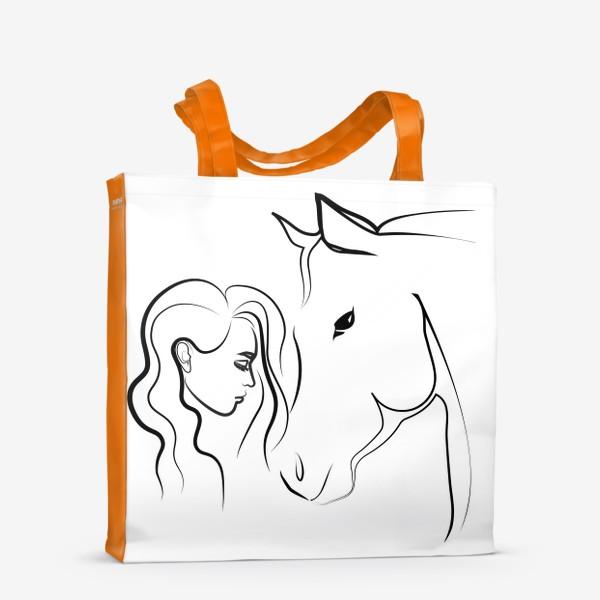 Сумка-шоппер «Графичный рисунок. Девушка с лошадью»