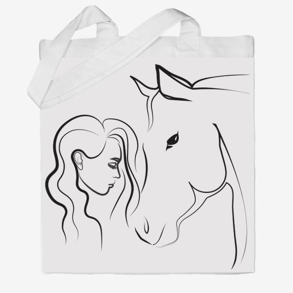 Сумка хб «Графичный рисунок. Девушка с лошадью»
