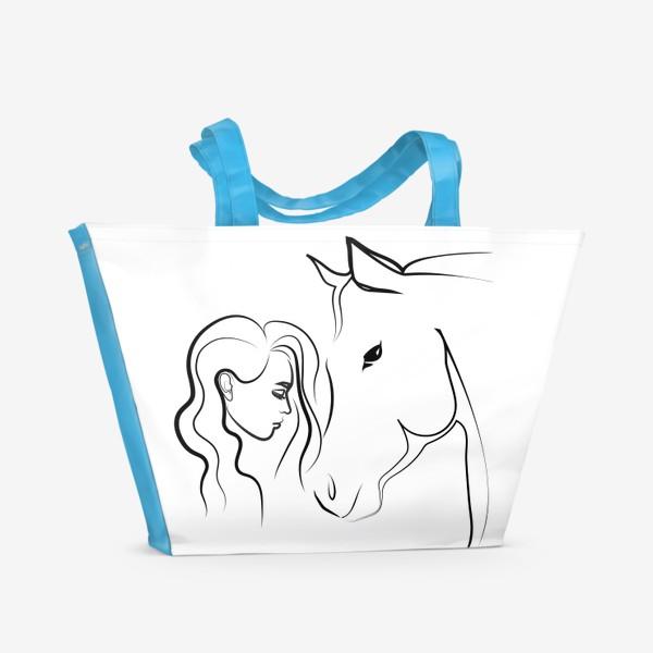 Пляжная сумка «Графичный рисунок. Девушка с лошадью»