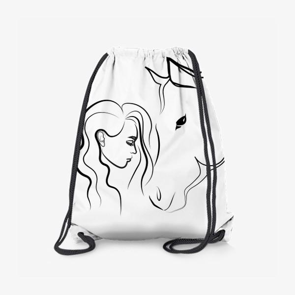 Рюкзак «Графичный рисунок. Девушка с лошадью»