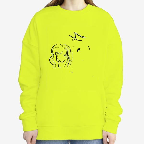 Свитшот «Графичный рисунок. Девушка с лошадью»