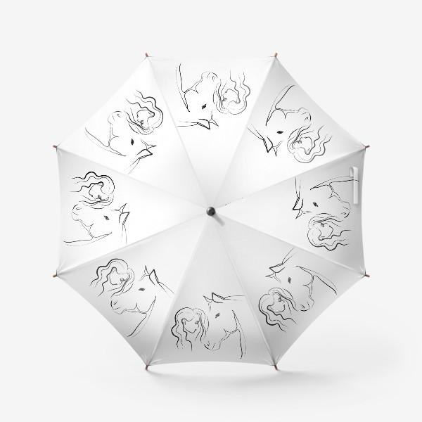 Зонт «Графичный рисунок. Девушка с лошадью»