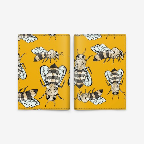 Обложка для паспорта «Живописные пчелы на желтом»