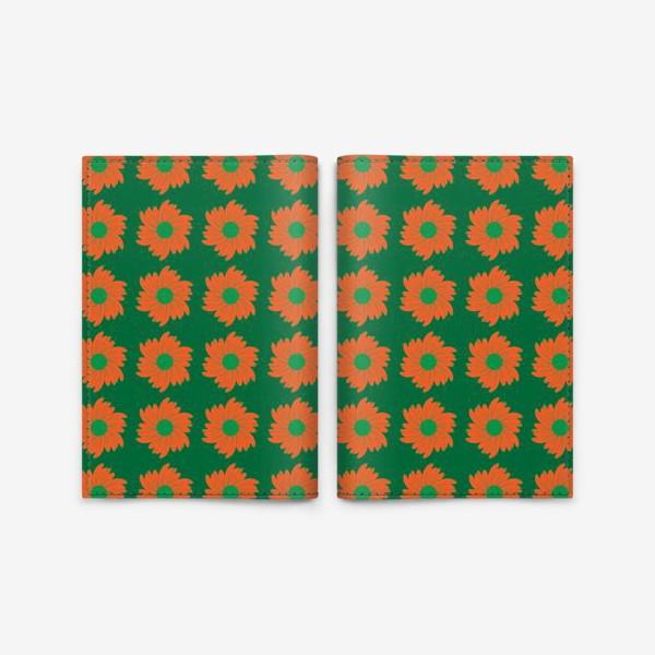 Обложка для паспорта «Цветочный орнамент на зеленом фоне»