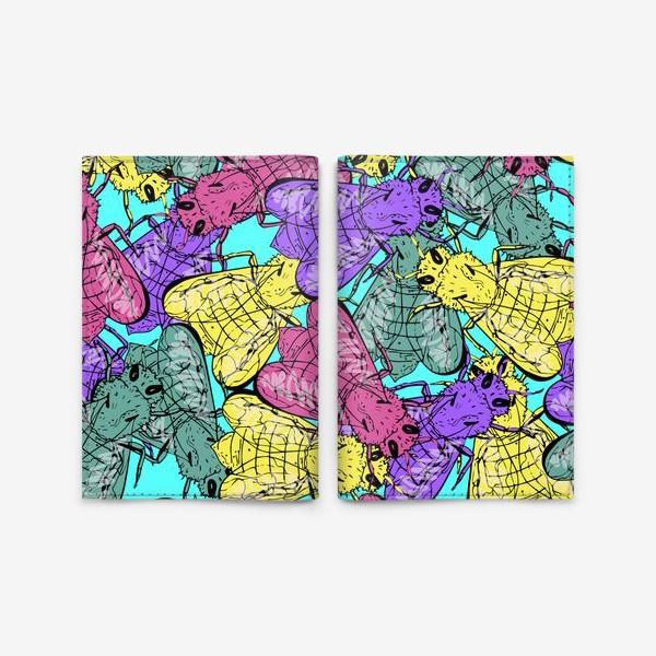 Обложка для паспорта «Камуфляж из неоновых пчел»