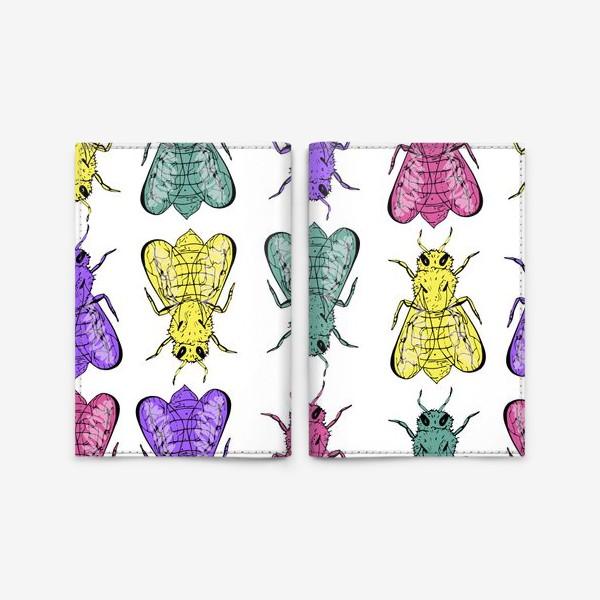 Обложка для паспорта «Паттерн из пчел в стиле поп-арт»