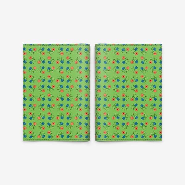 Обложка для паспорта «Цветочный рисунок на зеленом фоне »