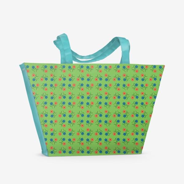 Пляжная сумка «Цветочный рисунок на зеленом фоне »