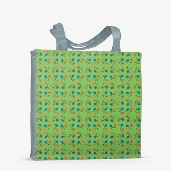 Сумка-шоппер «Цветочный рисунок на зеленом фоне »