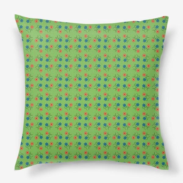 Подушка «Цветочный рисунок на зеленом фоне »