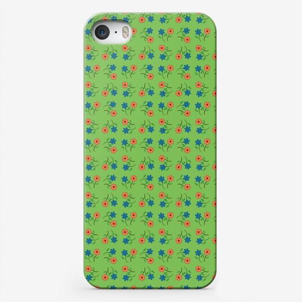 Чехол iPhone «Цветочный рисунок на зеленом фоне »