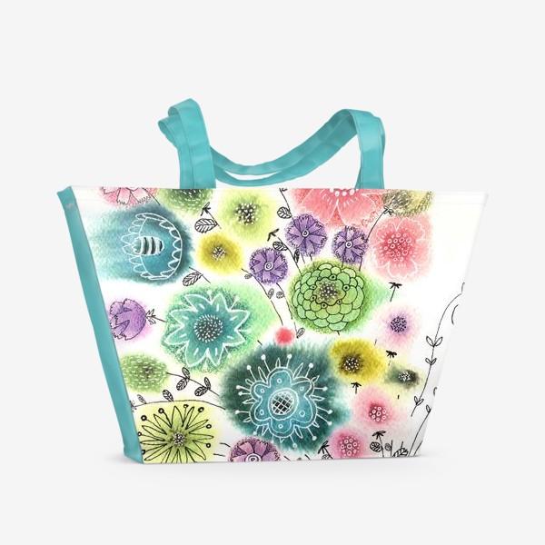 Пляжная сумка «Акварельный букет»