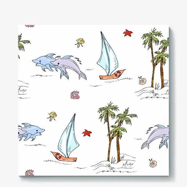 Холст «дельфины, пальмы, океан»