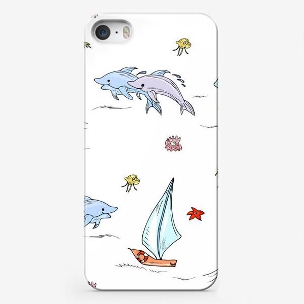 Чехол iPhone «дельфины, пальмы, океан»