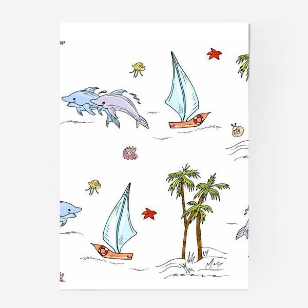 Постер «дельфины, пальмы, океан»