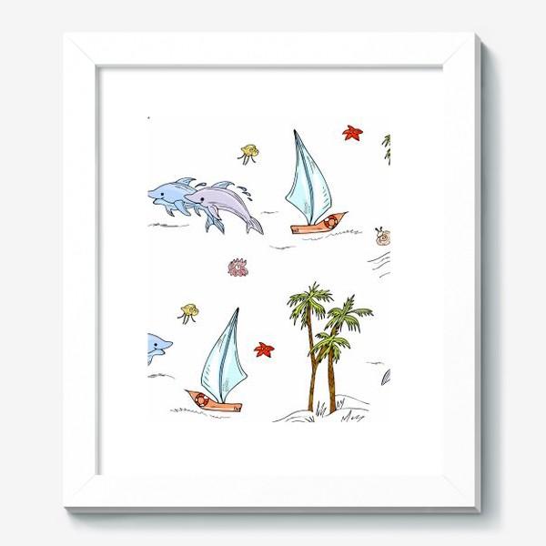 Картина «дельфины, пальмы, океан»